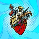 Hjärta för jazzorkestermusikal Arkivbilder
