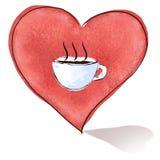 hjärta för kaffekopp Royaltyfri Illustrationer