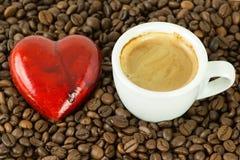 hjärta för kaffekopp Arkivfoton