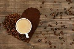 hjärta för kaffekopp Kopp kaffe- och kaffehjärta Royaltyfria Foton
