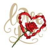 Hjärta för kronblad för mall för vykort för valentindagförälskelse, röd rosa blomma på bokstäver stock illustrationer