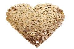 hjärta för myntguld Royaltyfria Bilder