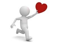 hjärta för spring och för innehav för man 3d röd Vektor Illustrationer