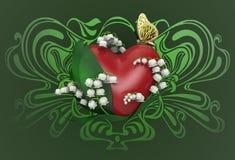 hjärta för tolkning 3d med sidor, liljekonvaljblommor och fjärilen Royaltyfri Bild