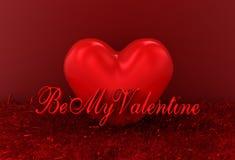 hjärta för tolkningen 3d med text är min valentin Royaltyfri Bild
