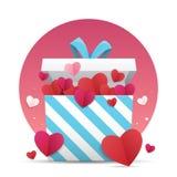 Hjärta för två rosa färg En gåvaask med många hjärta-formad pappers- konsthantverkstil inom på vit bakgrund Arkivfoton
