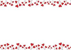 Hjärta för två rosa färg Sömlös ram för vektor med utrymme för din text Arkivfoton