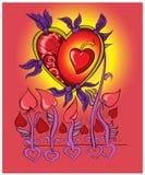Hjärta flyger på förälskelsevingar också vektor för coreldrawillustration Arkivfoto