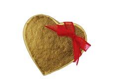 Hjärta-formad ask som en gåva Royaltyfria Foton