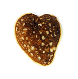 hjärta formad isolerad pannkaka Royaltyfria Bilder