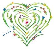 Hjärta formad labyrint med blom- beståndsdelar Arkivfoto