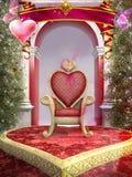 Hjärta formad röd stol Arkivfoton