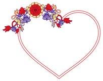 Hjärta-formad ram med dekorativa blommor Fotografering för Bildbyråer