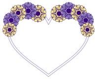 Hjärta-formad ram med dekorativa blommor Royaltyfri Bild