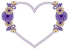 Hjärta-formad ram med dekorativa blommor Royaltyfria Bilder