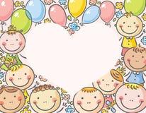 Hjärta-formad ram med ungar Royaltyfria Bilder
