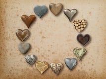 Hjärta formad saker som är ordnad i cirkel Royaltyfria Bilder