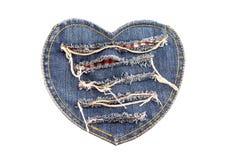 Hjärta-formad tygbild på vit bakgrund Arkivfoto