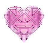 Hjärta formad utskrivaven strömkrets arkivfoto