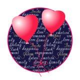 Hjärta formade ballonger och manuell bokstäver royaltyfri illustrationer