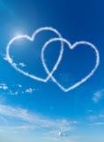Hjärta formade moln Fotografering för Bildbyråer