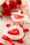 Hjärta formade stearinljus Royaltyfri Bild