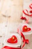 Hjärta formade stearinljus Fotografering för Bildbyråer