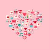 Hjärta formade symboler för stil för valentindaglägenhet med skugga Arkivfoton