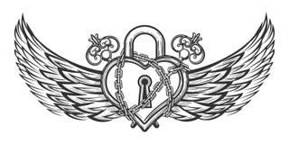 Hjärta format lås med vingar Arkivfoto