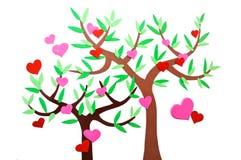 Hjärta-format symbol och träd Arkivbild