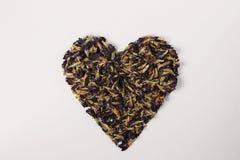 Hjärta från av ärtablommor som isoleras på en vit bakgrund fotografering för bildbyråer