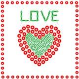 Hjärta från cirklar i en ram, på en vit bakgrund Fotografering för Bildbyråer