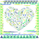 Hjärta från fjädrar i navajostil, vektorillustration Arkivbild