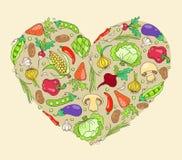 Hjärta från grönsaker Arkivbilder