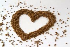 Hjärta från kaffebönor royaltyfri fotografi