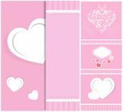 Hjärta från pappers- valentindagkort Arkivfoton