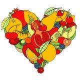 Hjärta från sund frukt och bär stock illustrationer