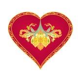 Hjärta från tappning smyckar vektorn Arkivfoto