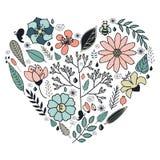 Hjärta gjorde av blommor i vektor stock illustrationer