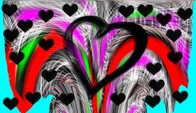 Hjärta Grafik Teckning färgrikt färger Arkivfoton