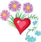 Hjärta i blommor stock illustrationer