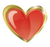 Hjärta i ett guld- inramar Royaltyfri Bild