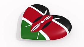 Hjärta i färger och symboler av Kenya, ögla royaltyfri illustrationer