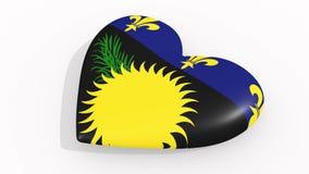 Hjärta i färgflaggan av Guadeloupe pulsar, ögla vektor illustrationer