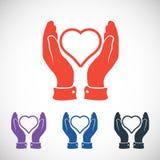 Hjärta i handsymbolen, vektorillustration plant Royaltyfri Foto