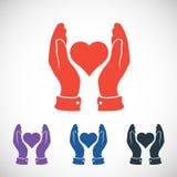 Hjärta i handsymbolen, vektorillustration plant Royaltyfri Bild