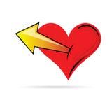 Hjärta i röd färg med pilillustrationen Royaltyfri Fotografi