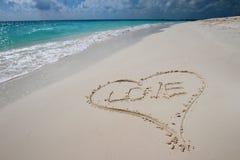 Hjärta i sanden Arkivbilder