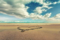 Hjärta i sanden på stranden av Gran Canaria royaltyfri fotografi