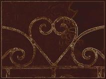 Hjärta i sepiasignal Arkivbild